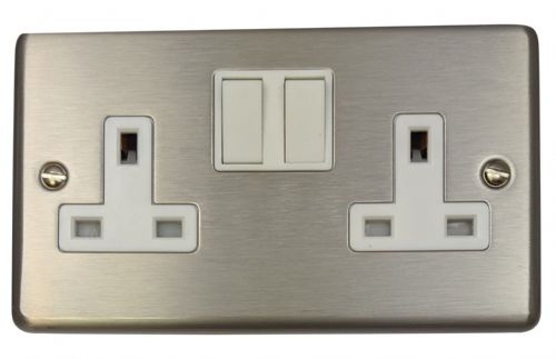 G&H CSS10W Standard Plate Brushed Steel 2 Gang Double 13A Switched Plug Socket